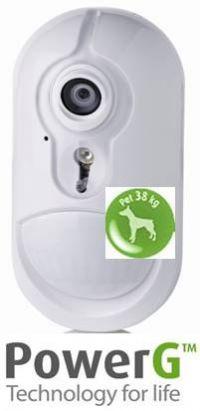 Accesorios de alarmas Visonic PowerG, sensor de movimiento con cámara  CMOS color integrada e inmunidad a mascotas.